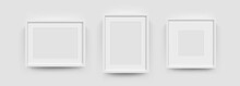 Photo Picture Frames On Wall, Vector White Mockups Or Empty Posters. Empty Photo Frames Mockups For Pictures Or Photograph, Realistic 3D Blank Templates