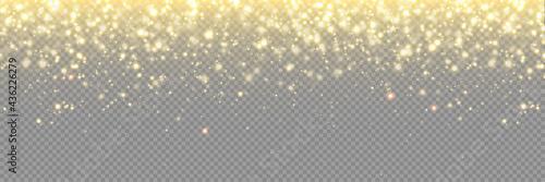 Fotografie, Obraz Gold glitter background, particle sparkles and vector golden confetti rain