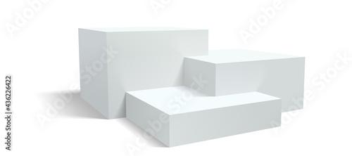 Stampa su Tela Podium pedestal, vector display platform or 3D stage stand, realistic racked dais