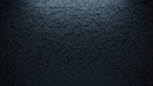 3D, Futuristic Wall Background With Tiles. Black, Tile Wallpaper With Diamond Shaped, Polished Blocks. 3D Render