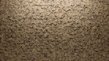 Diamond Shaped, Natural Stone Wall Background With Tiles. Polished, Tile Wallpaper With Textured, 3D Blocks. 3D Render