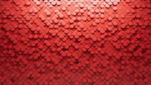 Futuristic, 3D Wall Background With Tiles. Red, Tile Wallpaper With Fish Scale, Polished Blocks. 3D Render