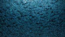 Polished, 3D Wall Background With Tiles. Arabesque, Tile Wallpaper With Textured, Blue Patina Blocks. 3D Render