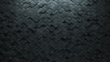Polished, Futuristic Wall Background With Tiles. Arabesque, Tile Wallpaper With Concrete, 3D Blocks. 3D Render