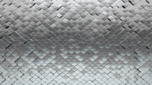 Polished, Silver Wall Background With Tiles. Luxurious, Tile Wallpaper With 3D, Arabesque Blocks. 3D Render