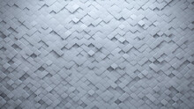 White, Futuristic Wall Background With Tiles. 3D, Tile Wallpaper With Arabesque, Polished Blocks. 3D Render