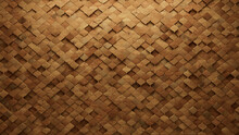 Timber, Arabesque Wall Background With Tiles. Wood, Tile Wallpaper With Natural, 3D Blocks. 3D Render