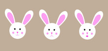 Vector Illustration. Types Of Cute Bunny Emotions. Sad, Funny And Surprised Bunny. Can Be Used To Create Your Own Designs, Banners Or Postcards.
