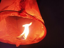 Sky Lantern During Diwali Festival In Air At Night Time. A Sky Lantern Also Known As A Small Hot Air Balloon.