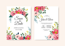 Wedding Invitation Card With Watercolor Red Flower