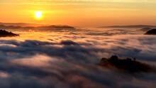 Sunrise And Cloud Carpet Over Mountain Landscape, Nhong Khai, Thailand