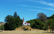 Wooden Church On A Hill In Rural Landscape, New Zealand