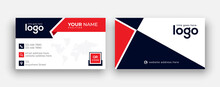 Double-sided Modern Red And Black Business Card Illustration. Simple Business Card, Modern Design Template.Stationery, Print Design.Creative And Clean Visiting Card.