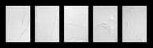 White Crumpled And Creased Glued Paper Poster Set Isolated On Black Background