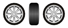 Realistic Car Tires Wheel Illustration