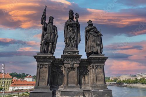 Fotografiet Prague charles bridge detail of statue