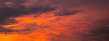 Beautiful Dramatic Sky. Sunset Or Sunrise Time. Amazing Purple Clouds. Soft Focus Photo.