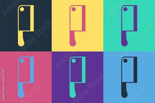 Photo Pop art Meat chopper icon isolated on color background