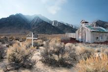 Cross Next To An Abandoned Barn In The Desert Near Alabama Hills, Lone Pine, California, USA