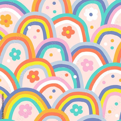фотография Boho baby summer whimsical rainbow vector seamless pattern