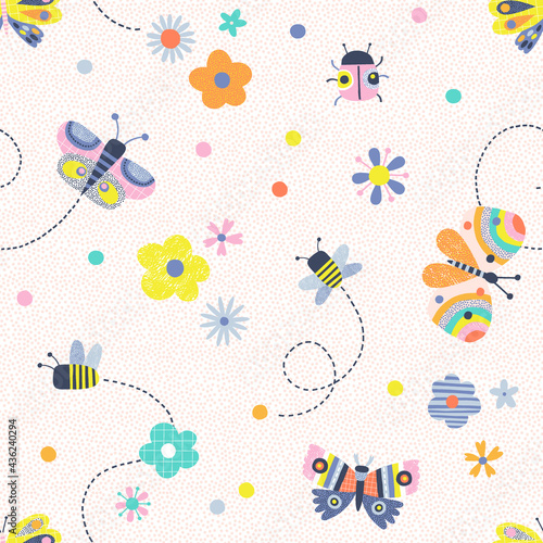 Vászonkép Floral summer whimsical insects Scandinavian childish seamless pattern
