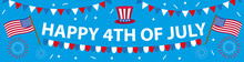 Happy 4th July Banner Poster. American Independence Day Template For Your Design. Vector Illustration