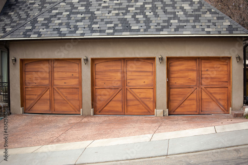 Fototapeta Garages with wooden gates