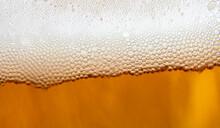 Beer Foam Enlarged, Closeup Beer Foam, Light Beer Texture