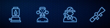 Set Line Hunter, Camping Lantern, African Tribe Male And Sniper Optical Sight. Glowing Neon Icon On Brick Wall. Vector