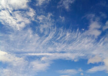 Endless Blue Sky With Feathery White Clouds