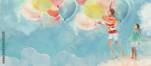 Tablou Canvas Happy childhood. Summer. Watercolor concept background