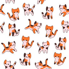 Simple Trendy Pattern With Ginger Cat. Cartoon Vector Illustration For Prints, Clothing, Packaging And Postcards.