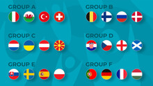 European Football Tournament Group Stge  2020. Set Of National Flags Of Football Teams Euro 2020 On Funny Backround.