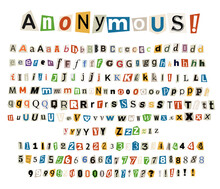 Anonymous Color Criminal Letters Cut From Newspapers And Magazines.
