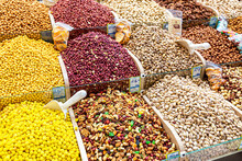 Various Nuts Are Sold At The Market