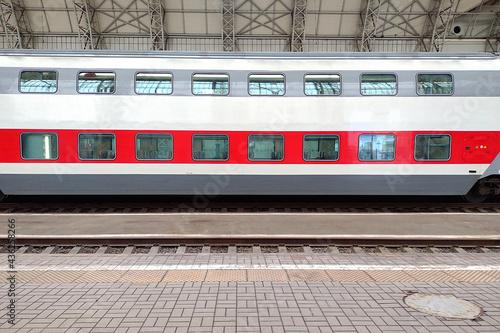 Fototapeta double-decker passenger car near the train station
