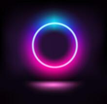 Dark Stage With Vibrant Neon Circle