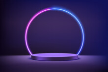Empty Stage With Circle Neon Lighting