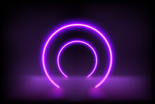 Empty Stage With Circle Neon Arc