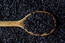 Black Rice In Wood Spoon