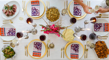 Overhead Of Holiday Table