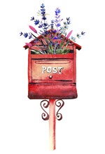 Handdrawn Watercolor Illustration Isolated On White Background. Red Mailbox With Lavender Flowers.