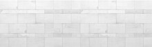 Panorama Of White Granite Building Exterior Wall Tile Pattern And Background Seamless