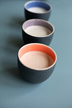 Set Of Cups Full Of Coffee And Milk