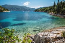 Beautiful Foki Beach Close To Village Of Fiskardo, Is Known For Its Emerald Sea And Cypress Trees Surrounding It. Ionian Island Kefalonia, Greece.