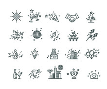 Party And Celebrate Icons Set,Vector,Editable Stroke