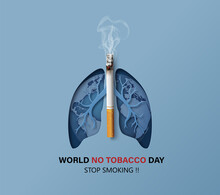 Concept No Smoking World No Tobacco Day Card With Lung Cigarette Paper Collage Style With Digital Craft_2