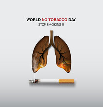 Concept No Smoking World No Tobacco Day Card With Lung Cigarette Paper Collage Style With Digital Craft