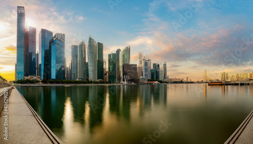 Tela Singapore financial district skyline at Marina bay on sun set time, Singapore city, South east asia