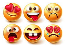 Emoticons Smiley Characters Vector Set. Emoticon 3d Emojis Isolated In White Background With Funny, Crazy, In Love And Broken Heart Facial Expression For Smileys Character Collection Design.